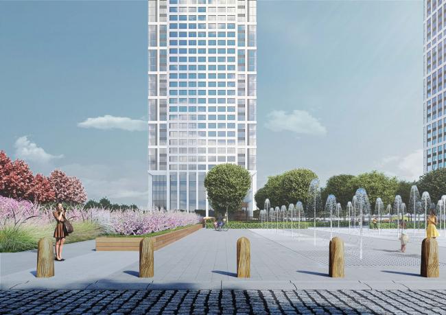 Многофункциональный жилой комплекс в 5-ом Донском проезде. Благоустройсто. Проект, 2015 © Архитектурная мастерская «Группа АБВ»