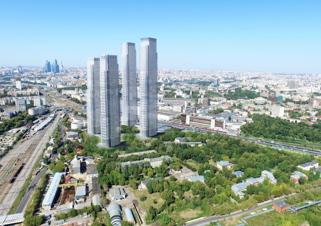 Multifunctional residential complex on the 5th Donskoy Proezd. 4 towers. View from the power plant. Project, 2015 © ABV Group