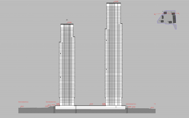 Multifunctional residential complex on the 5th Donskoy Proezd. 4 towers. Section view. Project, 2015 © ABV Group