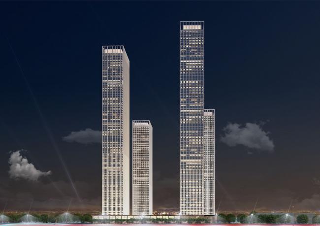 Многофункциональный жилой комплекс в 5-ом Донском проезде. 4 башни. Вариант 2. Проект, 2015 © Архитектурная мастерская «Группа АБВ»