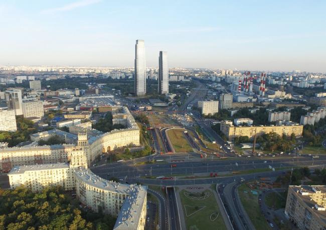 Многофункциональный жилой комплекс в 5-ом Донском проезде. 4 башни. Вид с площади Гагарина. Проект, 2015 © Архитектурная мастерская «Группа АБВ»