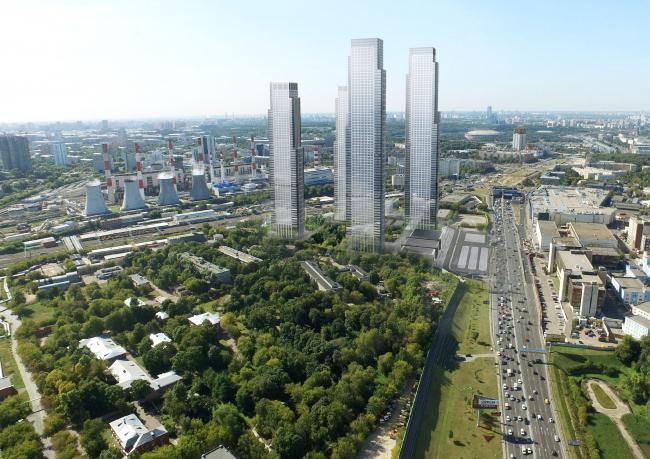 Многофункциональный жилой комплекс в 5-ом Донском проезде. 4 башни. Вид со стороны больницы. Проект, 2015 © Архитектурная мастерская «Группа АБВ»