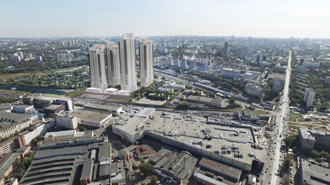 Многофункциональный жилой комплекс в 5-ом Донском проезде. 5 башен. Вид с ТТК. Проект, 2015 © Архитектурная мастерская «Группа АБВ»