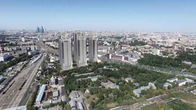 Многофункциональный жилой комплекс в 5-ом Донском проезде. 5 башен. Вид с ТЭЦ. Проект, 2015 © Архитектурная мастерская «Группа АБВ»