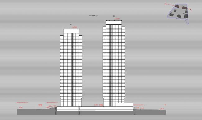 Многофункциональный жилой комплекс в 5-ом Донском проезде. 5 башен. Разрез. Проект, 2015 © Архитектурная мастерская «Группа АБВ»