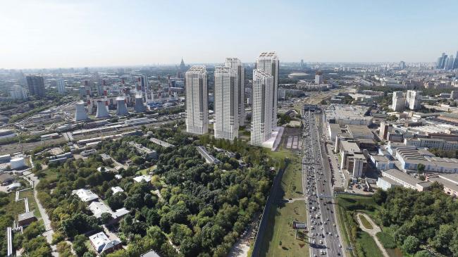 Многофункциональный жилой комплекс в 5-ом Донском проезде. 5 башен. Вид со стороны больницы. Проект, 2015 © Архитектурная мастерская «Группа АБВ»