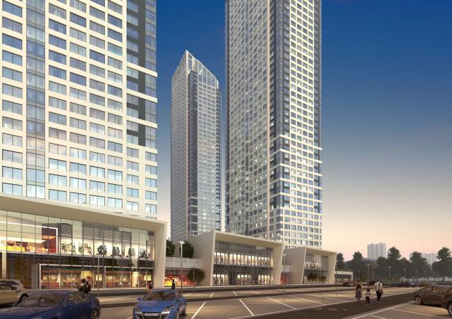 Многофункциональный жилой комплекс в 5-ом Донском проезде. 5 башен. Вариант 1. Проект, 2015 © Архитектурная мастерская «Группа АБВ»
