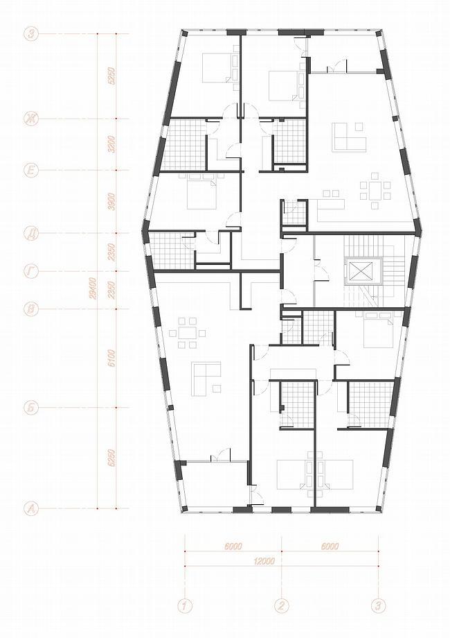 Жилой комплекс с нежилыми помещениями и подземной стоянкой, Поздняково. Типовой этаж