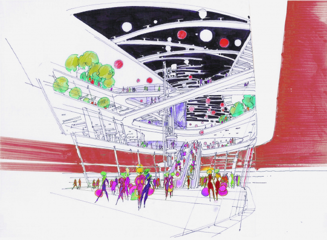 "Shopping and entertainment complex ""Burunduki"". Sketch. Project, 2015 © ARKHIMATIKA"