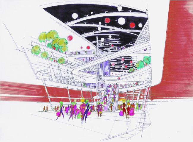 "Shopping and entertainment complex ""Burunduki"". Sketch. Project, 2015 © ARKHIMATIKA"