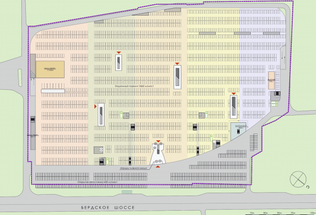 Торгово-развлекательный комплекс «Бурундуки». План парковки. Проект, 2015 © АРХИМАТИКА