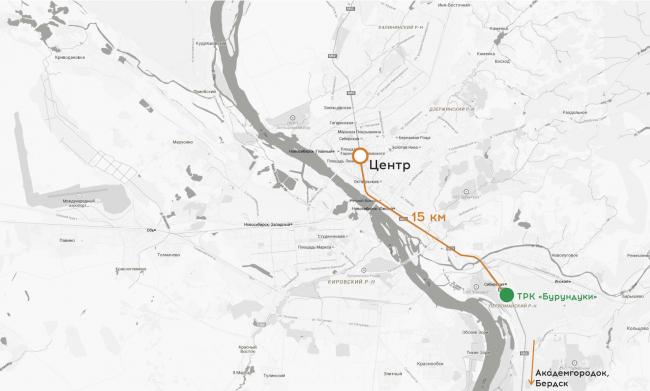 Торгово-развлекательный комплекс «Бурундуки». Ситуационный план, расстояние до центра города. Проект, 2015 © АРХИМАТИКА