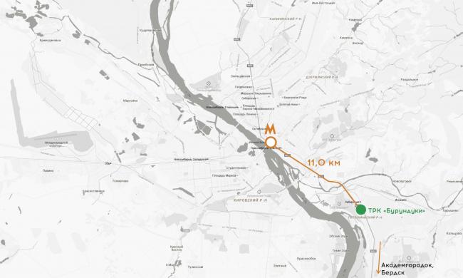 Торгово-развлекательный комплекс «Бурундуки». Ситуационный план, расстояние до станции метро. Проект, 2015 © АРХИМАТИКА