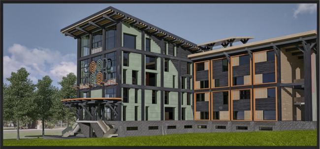 Фасадная концепция для Good Wood Plaza. Автор: Алексей Бездомов (Москва)