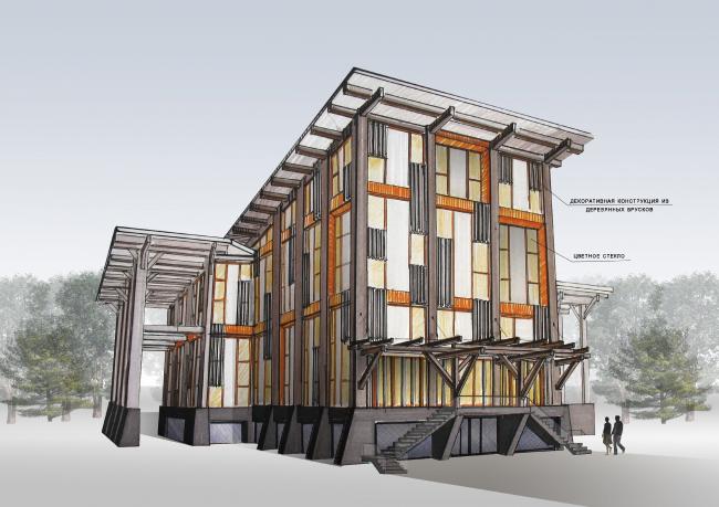 Фасадная концепция для Good Wood Plaza. Автор: Ольга Степанова (Санкт-Петербург)