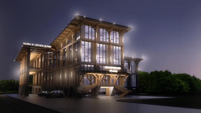 Фасадная концепция для Good Wood Plaza. Автор: Кирилл Тихонов (Ярославль)