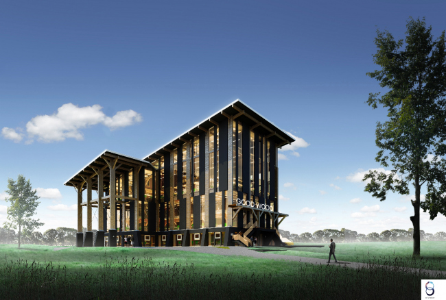 Фасадная концепция для Good Wood Plaza. Автор: Иван Турбин, компания Starta (Алматы)
