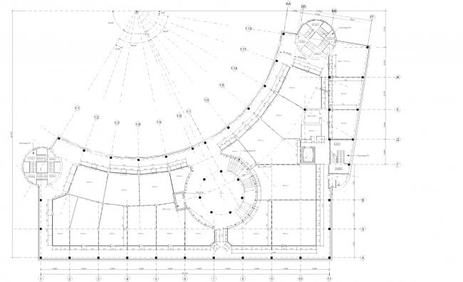 Центр Олимпийской торговли (Торговый центр «Артём»). План 2 этажа. Постройка, 2003 © Архитектурная мастерская А.А. Столярчука