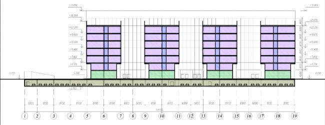 Бизнес-центр на Большом Сампсониевском проспекте. Разрез. Проект, 2011 © Архитектурная мастерская А.А. Столярчук
