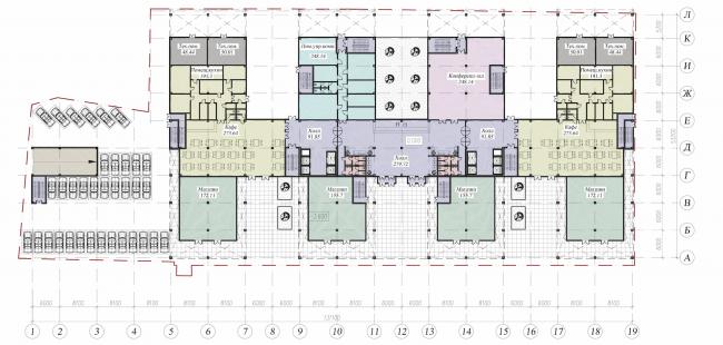 Бизнес-центр на Большом Сампсониевском проспекте. План 1 этажа. Проект, 2011 © Архитектурная мастерская А.А. Столярчук
