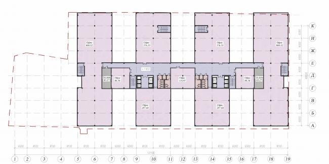 Бизнес-центр на Большом Сампсониевском проспекте. План типового этажа. Проект, 2011 © Архитектурная мастерская А.А. Столярчук