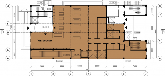 Торговый центр «Каменка». План 1 этажа. Постройка, 2008 © Архитектурная мастерская А.А. Столярчука
