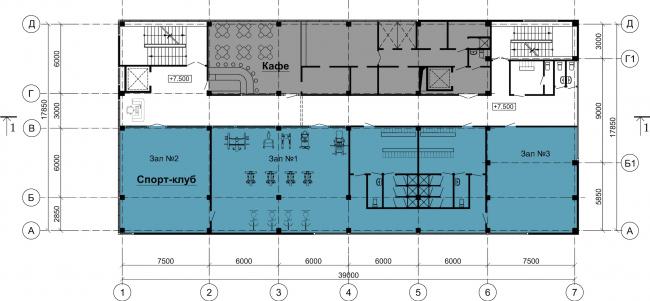 Торговый центр «Каменка». План -3 этажа. Постройка, 2008 © Архитектурная мастерская А.А. Столярчука