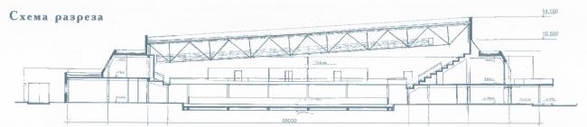 Крытый тренировочный каток. Разрез. Постройка, 2000 © Архитектурная мастерская А.А. Столярчука