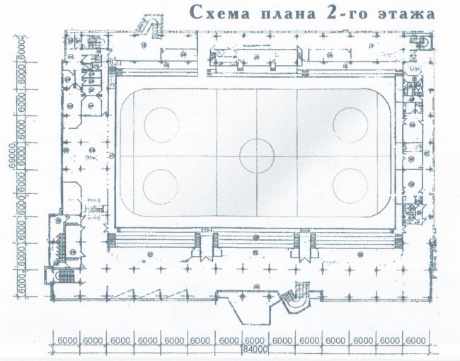 Крытый тренировочный каток. План 2 этажа. Постройка, 2000 © Архитектурная мастерская А.А. Столярчука