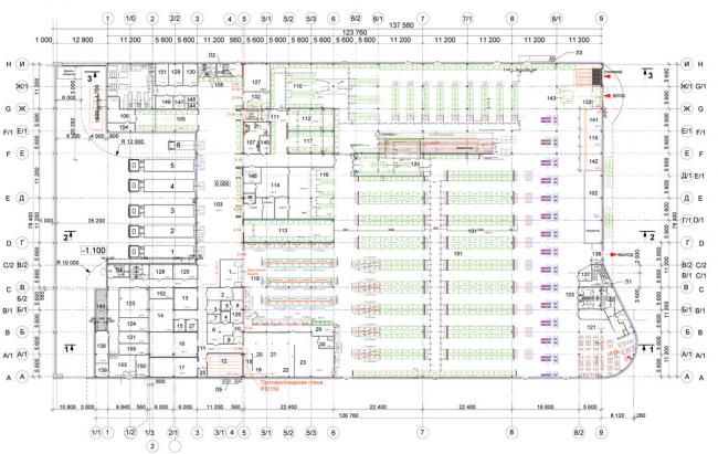 Торговый комплекс «Лента» на Выборгском шоссе. План 1 этажа. Постройка, 2004 © Архитектурная мастерская А.А. Столярчука