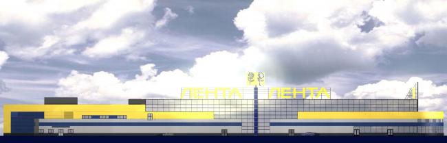 Торговый комплекс «Лента» на Выборгском шоссе. Фасад. Постройка, 2004 © Архитектурная мастерская А.А. Столярчука