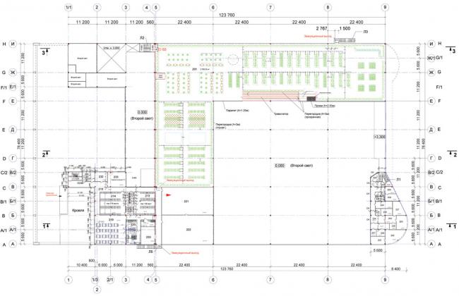 Торговый комплекс «Лента» на Выборгском шоссе. План 2 этажа. Постройка, 2004 © Архитектурная мастерская А.А. Столярчука