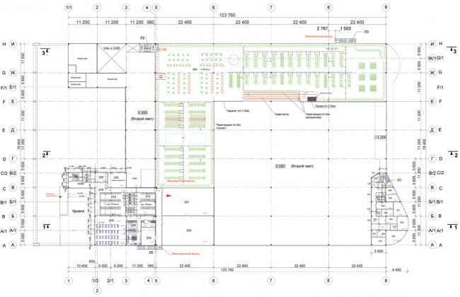 """""""Lenta"""" shopping center on the Vyborg Highway. Plan of the 2nd floor. Construction, 2004 © Anatoly Stolyarchuk architects"""