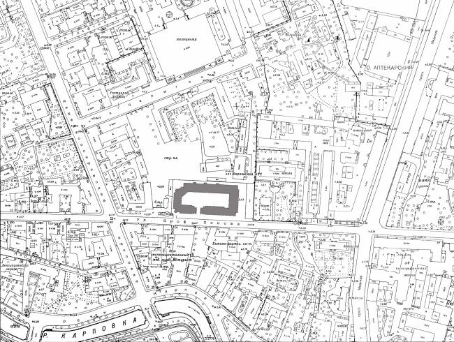 Жилой дом на улице Профессора Попова. Ситуационный план. Постройка, 2002 © Архитектурная мастерская А.А. Столярчука