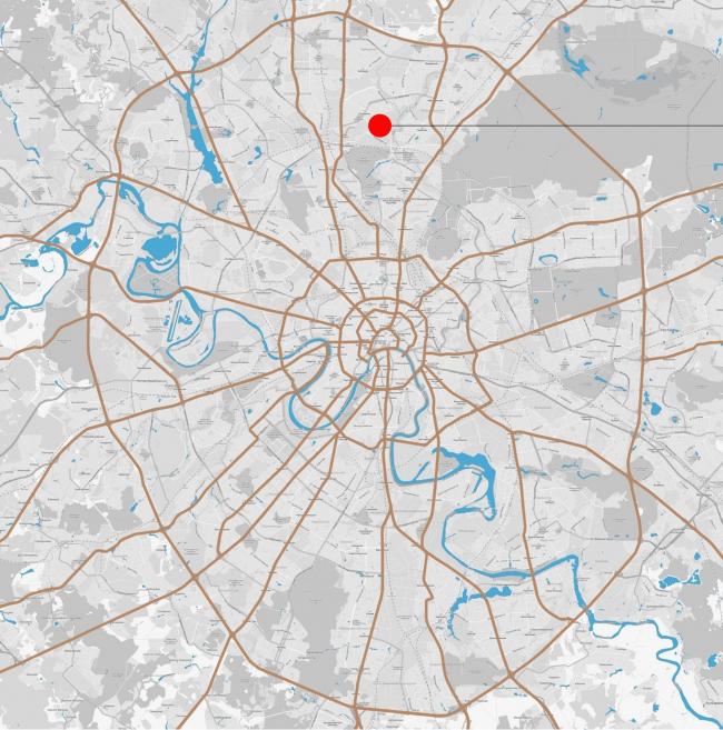 ЖК Green Park. Схема размещения объекта в городе © Проектное бюро «Апекс» и buromoscow. Заказчик: ГК ПИК