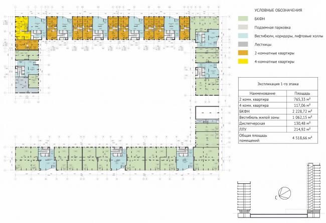 ЖК Green Park. План 1 этажа © Проектное бюро «Апекс» и buromoscow. Заказчик: ГК ПИК