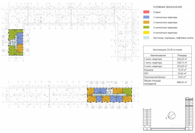 ЖК Green Park. План 12 этажа © Проектное бюро «Апекс» и buromoscow. Заказчик: ГК ПИК