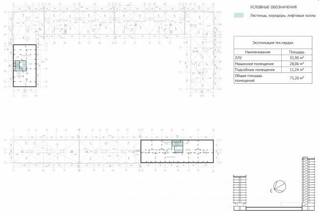 ЖК Green Park. План технического чердака © Проектное бюро «Апекс» и buromoscow. Заказчик: ГК ПИК
