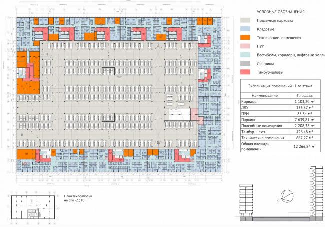 ЖК Green Park. План подземного этажа © Проектное бюро «Апекс» и buromoscow. Заказчик: ГК ПИК