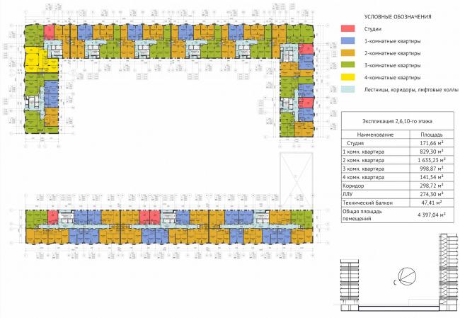 ЖК Green Park. План 2, 6, 10 этажей © Проектное бюро «Апекс» и buromoscow. Заказчик: ГК ПИК
