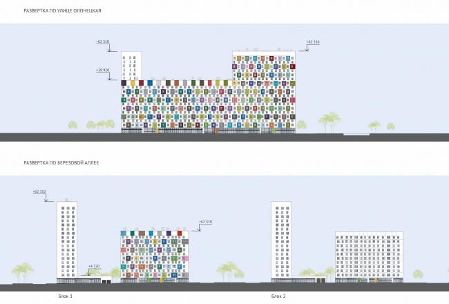 ЖК Green Park. Развертки фасадов © Проектное бюро «Апекс» и buromoscow. Заказчик: ГК ПИК