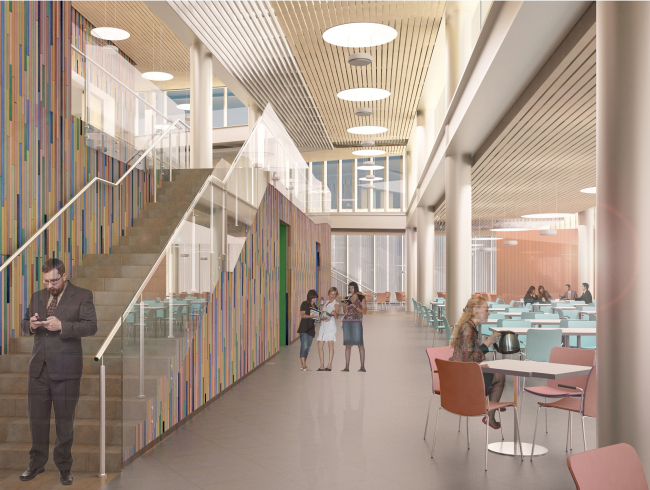Interior. Project. The students' cafe of the Higher Management School of Saint Petersburg State University. Structure. Construction, 2014 © Studio 44