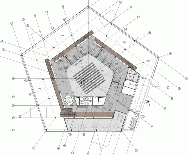 Plan of the second floor. The students' cafe of the Higher Management School of Saint Petersburg State University. Structure. Construction, 2014 © Studio 44