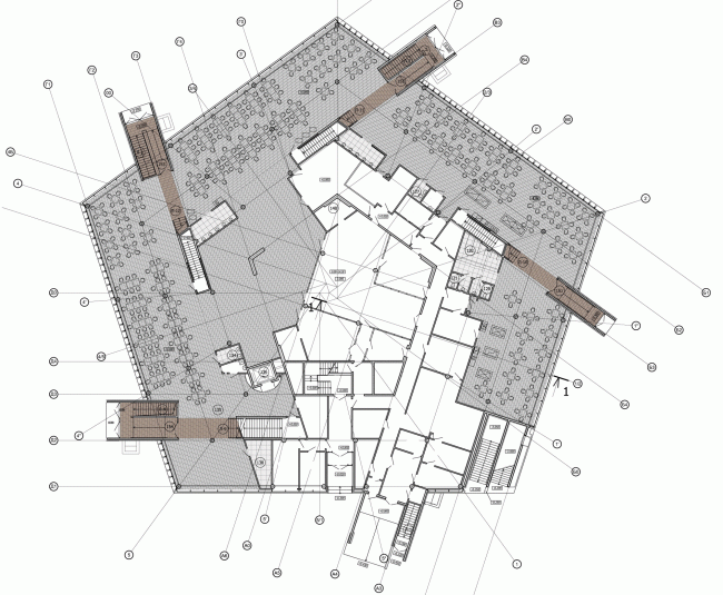 Plan of the first floor. The students' cafe of the Higher Management School of Saint Petersburg State University. Structure. Construction, 2014 © Studio 44