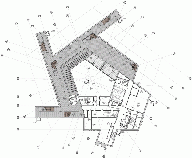 Plan of the basement floor. The students' cafe of the Higher Management School of Saint Petersburg State University. Structure. Construction, 2014 © Studio 44