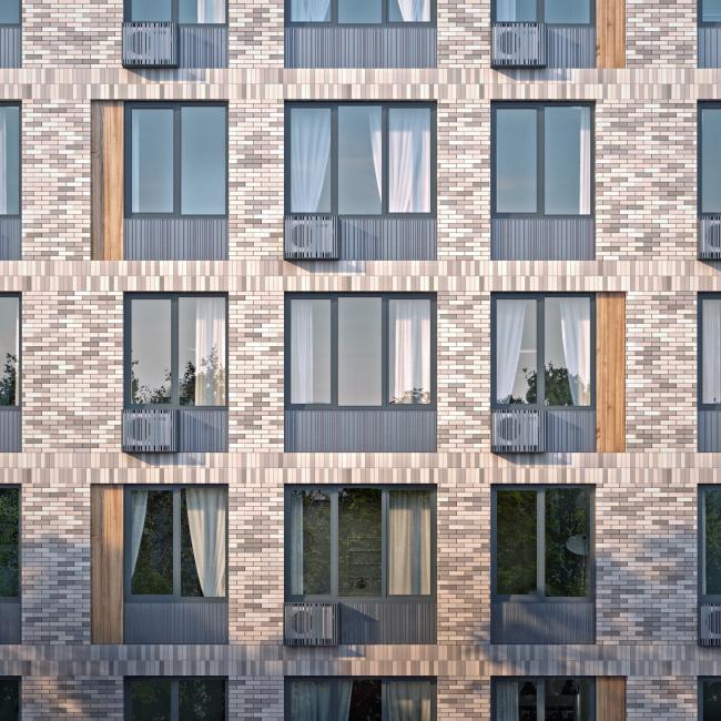 Многофункциональное здание с жилыми и нежилыми помещениями на шоссе Энтузиастов. Фрагмент 1 корпуса. Проект, 2015 © ADM