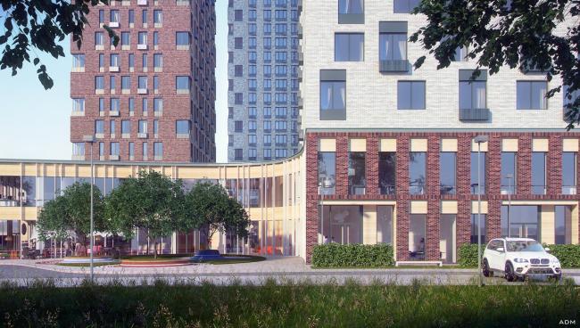 Многофункциональное здание с жилыми и нежилыми помещениями на шоссе Энтузиастов. Главный вход. Проект, 2015 © ADM