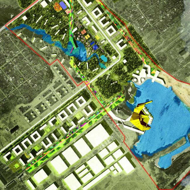 Архитектурно-градостроительная концепция административно-общественного центра в г. Комсомольск-на-Амуре. Генеральный план. Проект, 2015 © ПТАМ Виссарионова