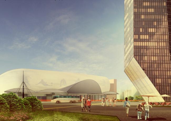 Архитектурно-градостроительная концепция административно-общественного центра в г. Комсомольск-на-Амуре. Центральная площадь. Проект, 2015 © ПТАМ Виссарионова