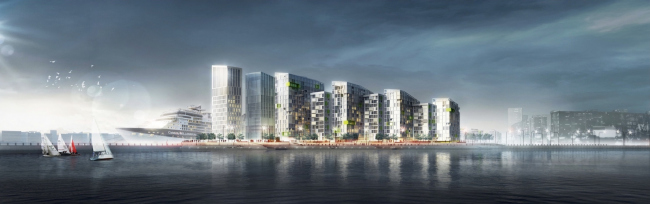 "Concept of the integrated social and housing project on the Vasilyevsky Island. A.Len. Photo courtesy by ""Glorax Development"""
